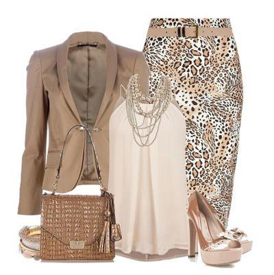 леопардовая юбка разнообразит офисный сет