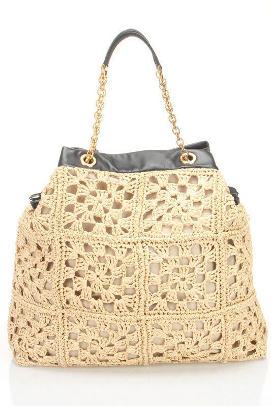 D Uncinetto Rafia Shopping Tote In Sand And Black