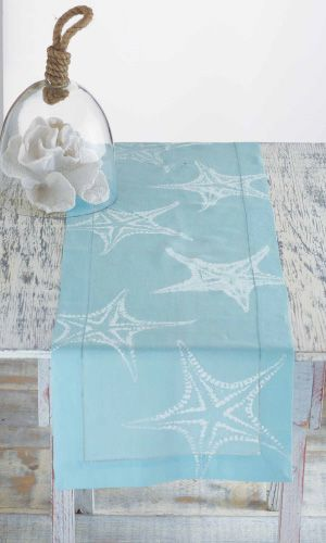 Starfish Table Runner. Lightweight and airy table runner in soothing blue is accented with white block print starfish.