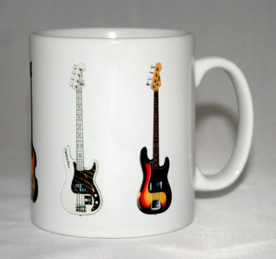 Bass Guitar Mug. 5 Famous bass guitars on a mug. WANT!!!!!!