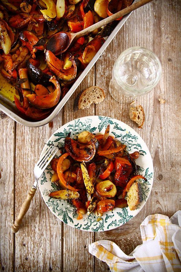 Courges, pommes de terre et panais rôtis