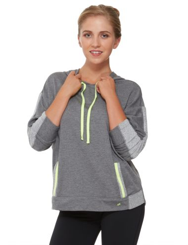 This pull-over hoodie is a relaxed fit with pockets at the front.