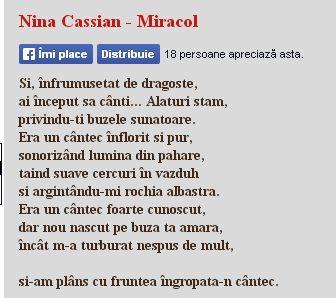 Nina Cassian - Miracol