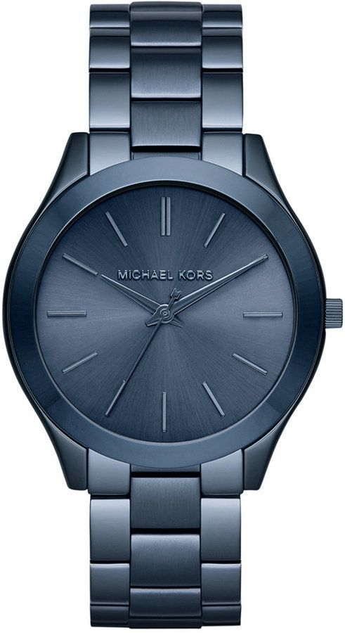 Michael Kors Women's Slim Runway Blue Ion-Plated Stainless Steel Bracelet Watch 42mm MK3419