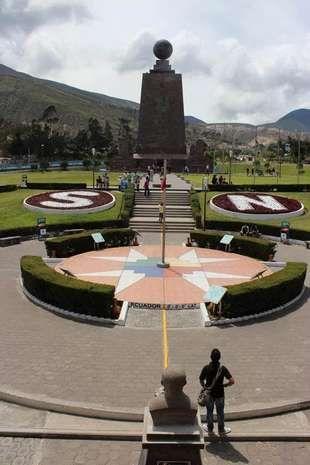 The Mitad del Mundo monument marking the equator just north of Quito, Ecuador.