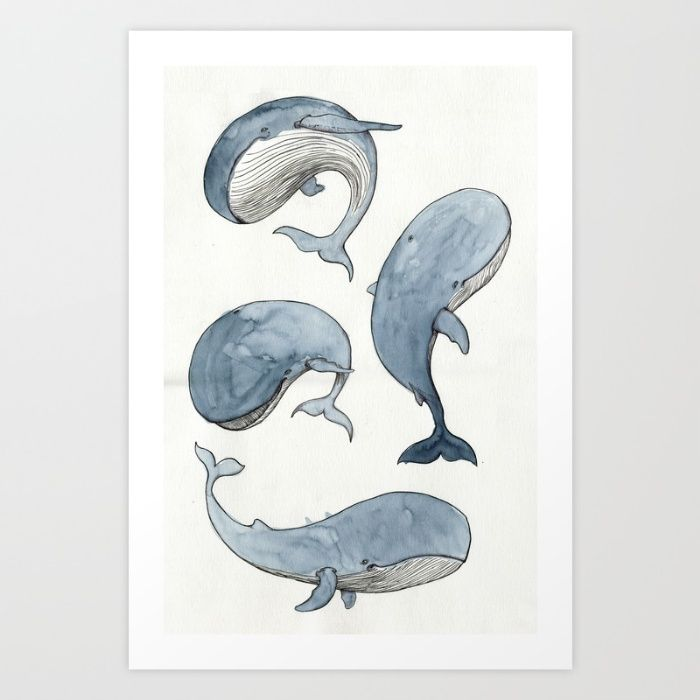 Dancing Whales Art Print by Mikael Biström | Society6