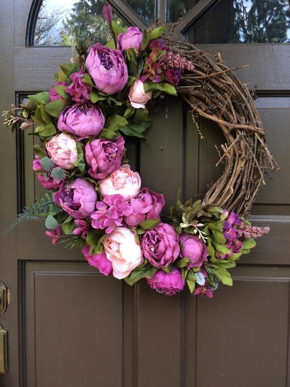 Spring Or Summer Wreath Wreath Wreath Front Door Wreath Gift For Her Wall Decor Purple Wreath In 2020 Purple Wreath Spring Wreath Mothers Day Wreath