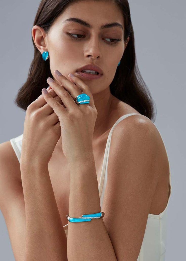 Stephen Webster CH₂ Turquoise Crystal Haze and White Diamonds Shard Bangle | Turquoise crystal ...