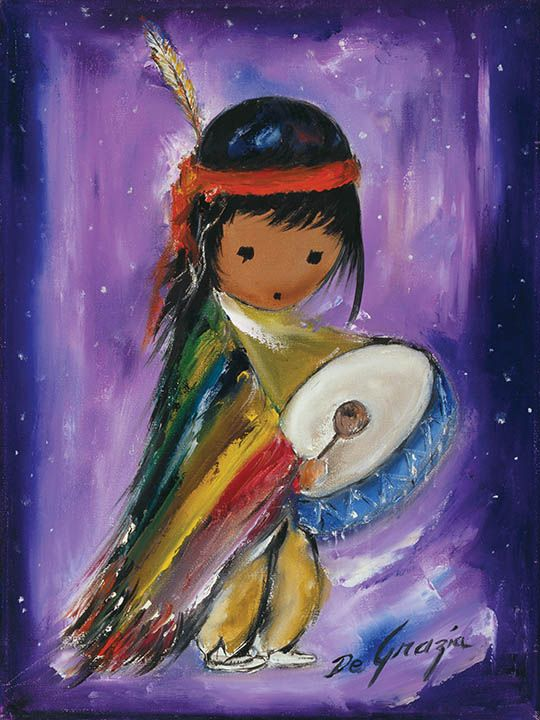 "DeGrazia said ""I only paint eyes on the children in my paintings, because children have the freedom of expression that most adults lack."" ""Pima Indian Drummer Boy"", oil on canvas."