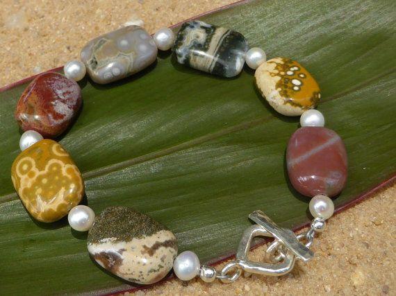 Ocean Jasper Bracelet Pearl Bracelet Hill Tribe Silver by Lapideum