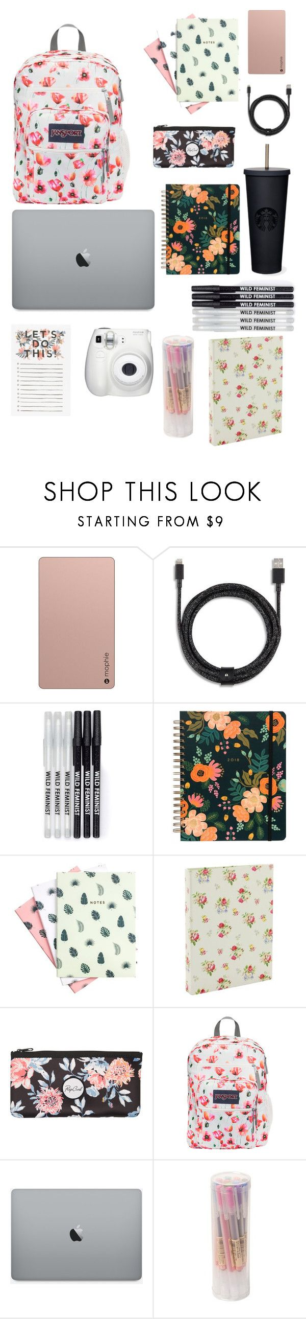 """""""◇My School Bag◇"""" by hbananaanna ❤ liked on Polyvore featuring Mophie, Native Union, Hadron Epoch, Go Stationery, Rip Curl, JanSport and Fujifilm"""
