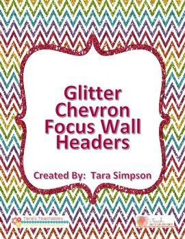 Set of 6 multicolor glitter chevron focus wall headers for ...