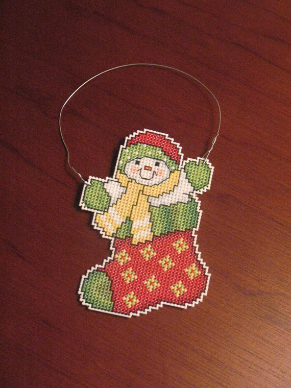 New Snowman in Stocking Christmas Cross Stitch Ornament. $7.00, via Etsy.
