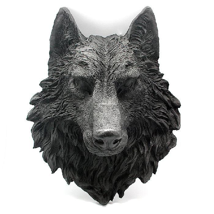 Cabeza de lobo fabricada de resina para pared cabezas de - Cabezas de animales decoracion ...