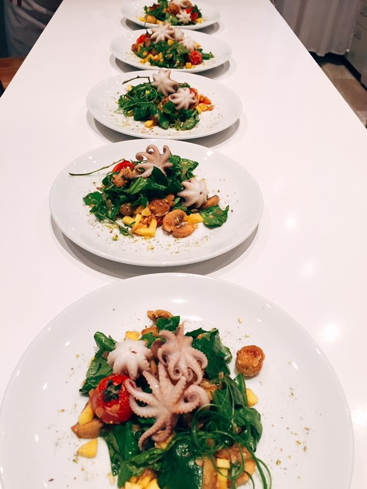 Octopus with Mango salad.  So nice and so testy. Looks great Personal Chef Armenia (Chef Margaryan)