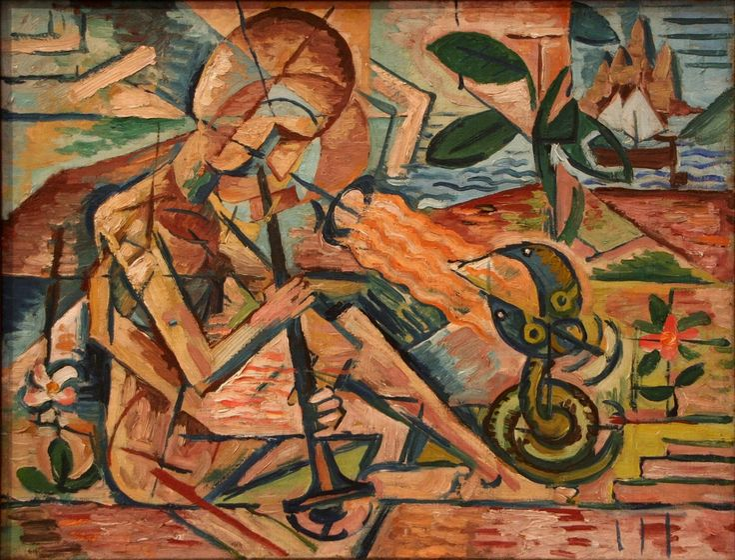 Czech Cubist artist Artist Bohumil Kubišta (1884–1918)  Title Fakir Taming Snakes Date 1915