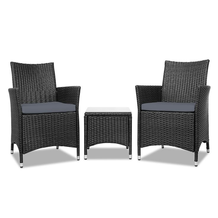 3pc Rattan Outdoor Patio Set | Black By 3 Piece Rattan Patio Set On THEHOME