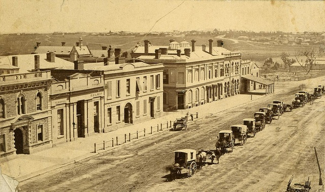 SA - Adelaide - King William Street, 1890 B 171 King William Street, west side, with North Terrace in the distance. The original ES bank premises and the Bank of Adelaide can be seen. The building with a verandah is the original Gresham Hotel. Horse cabs for hire line the centre of the road. Gresham place is shown.