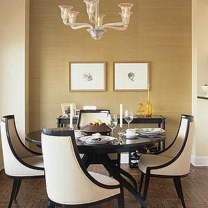 Elle Decor - dining rooms - beige, gold, grass cloth, grasscloth, wallpaper, lucite, acrylic, chandelier, spider, espresso, stained, wood, round, dining table, gold leaf, frames, console, table, dark, wood, ivory, upholstered, dining chairs, Restoration Hardware, parquet, wood, floors, ivory walls,