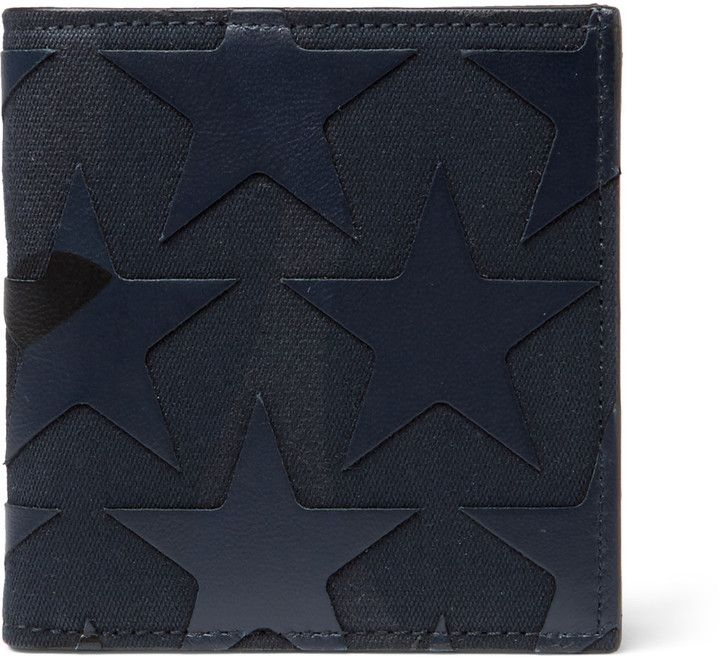 Valentino Star-Appliquéd Canvas And Leather Billfold Wallet