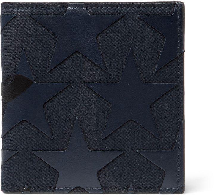 Valentino Star-Appliquéd Canvas And Leather Billfold Wallet