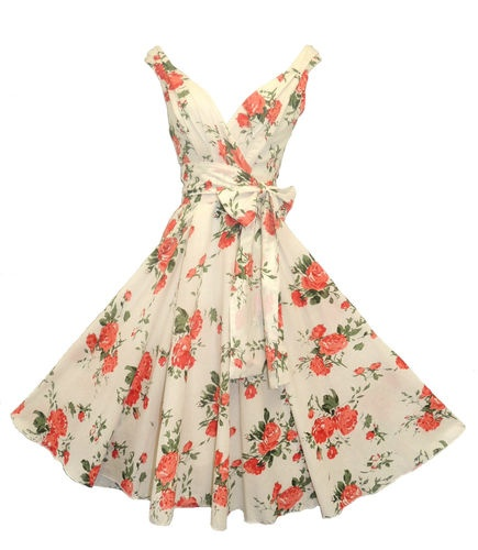 "New Ladies Pinup VINTAGE1950S Style Red Roses Summer Swing Tea Dress ""UK 12 