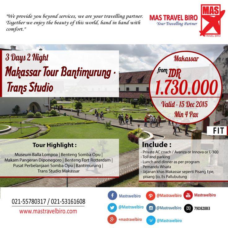 Tour 3 Hari 2 Malam Makassar Bantimurung - Trans Studio Mulai Dari Rp 1.730.000/Orang, Pesan Sekarang Sebelum 15 Dec 2015 ;) #tour   #makassar   #promo