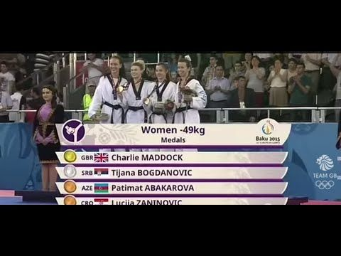 Watch Team GB's, Charlie Maddock on her way to winning the very first European Games Gold Medal in Womens Taekwondo -49kg