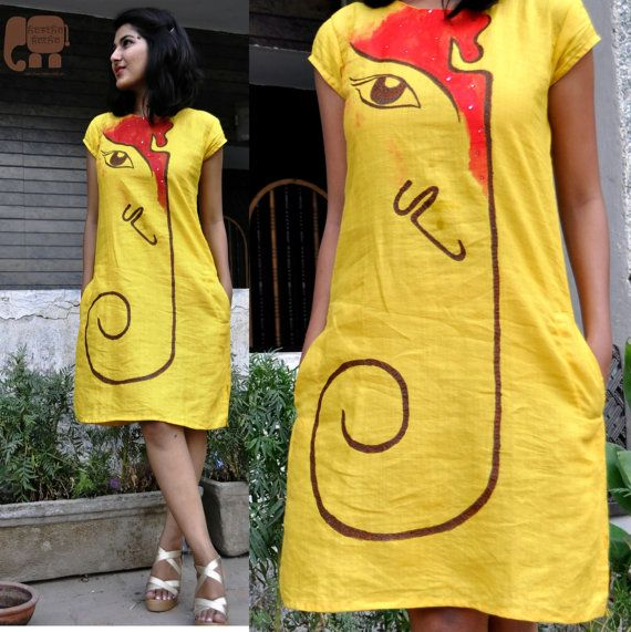 hand painted and embroidered yellow linen shift by HasthaKatha