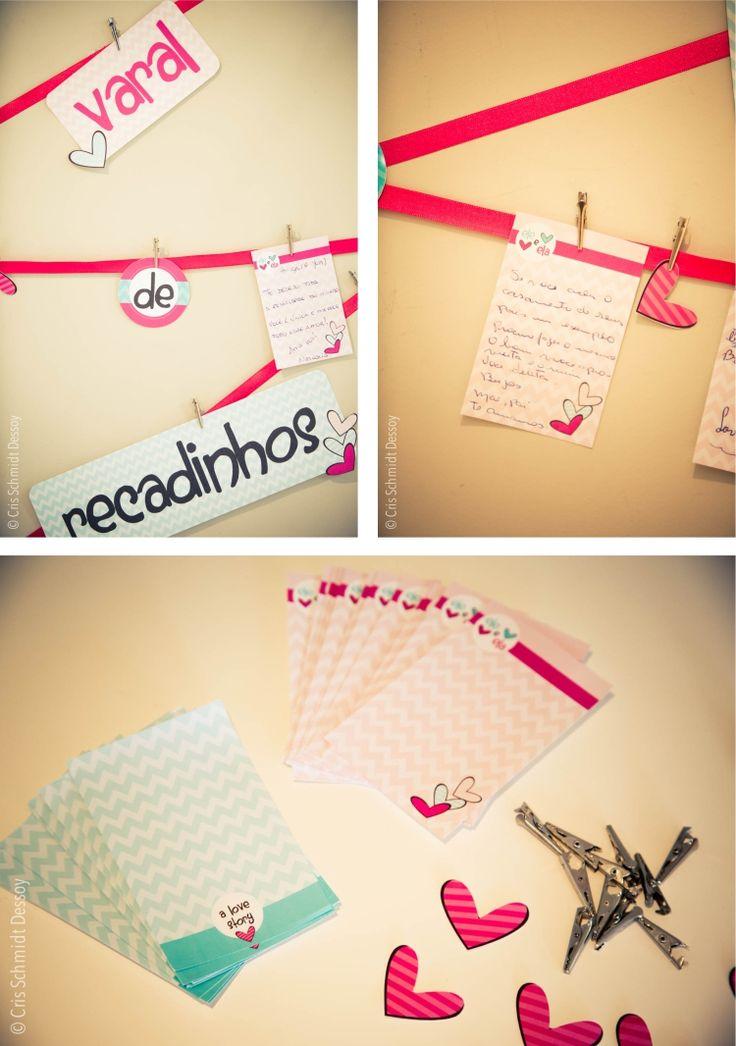 Varal de recadinhos #chabar #bridalshower #festapersonalizada  http://joyinthebox.com.br/blog/cha-bar-papelaria-personalizada/