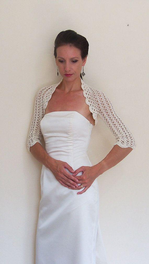 Wedding lace Shrug Bridal bolero crochet with 100% high quality cream cotton yarn