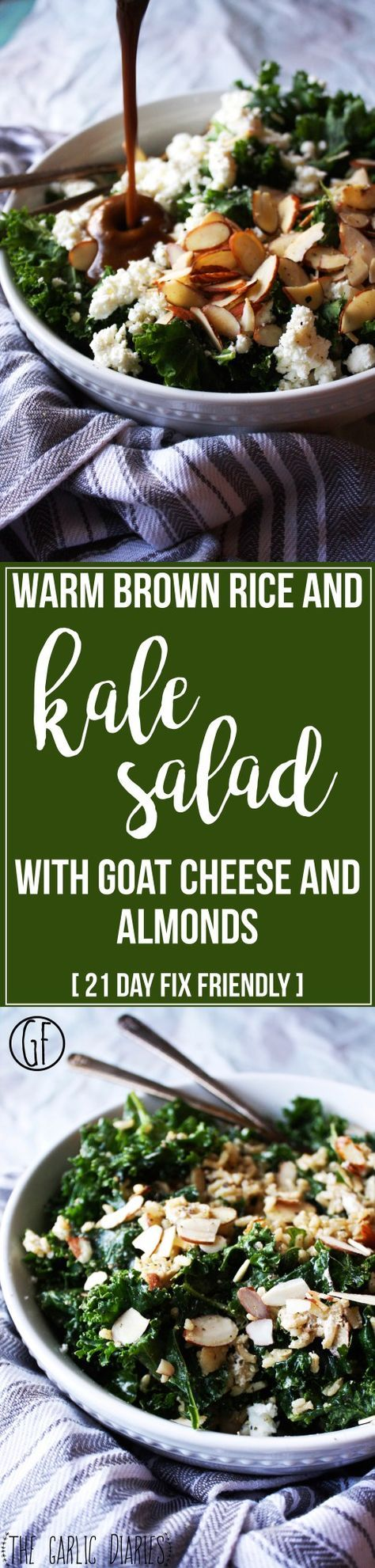 21 Day Fix Approved Warm Brown Rice and Kale Salad with Goat Cheese and Almonds // 21 Day Fix // 21 Day Fix Approved // fitness // fitspo  motivation // Meal Prep //  Meal Plan // Sample Meal Plan// diet // nutrition // Inspiration // fitfood // fitfam // clean eating // recipe // recipes // gluten free