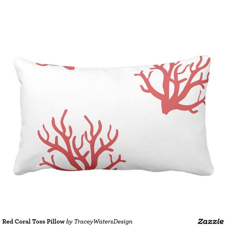 Rote Korallen-Wurf-Kissen