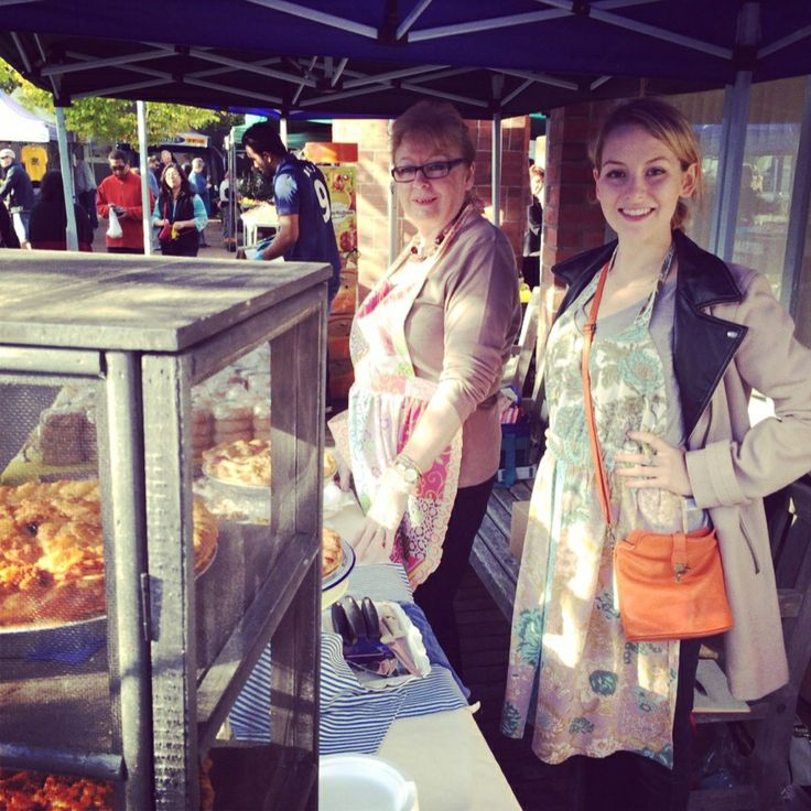 Suzanne styling her coat apron ensemble at our The Pie Piper stall at Howick Village Market. www.ThePiePiper.co.nz