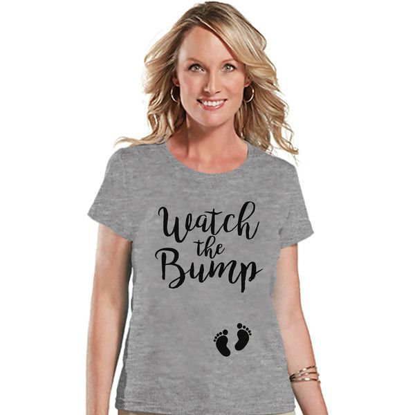 Women's Pregnancy Announcement Shirt Watch the Bump Grey T-Shirt... ($18) ❤ liked on Polyvore featuring tops, t-shirts, silver, women's clothing, grey graphic tee, silver t shirt, gray t shirt, tee-shirt and embellished t shirts