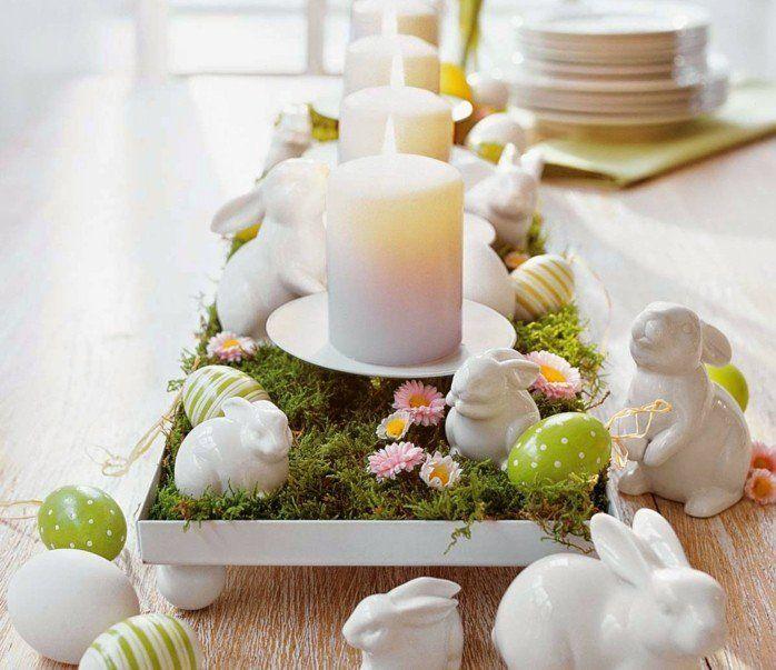 table-rustuque-en-bois-lapins-en-porcelaine-et-oeufs-colores-beau-centre-de-table-et-magnifique-deco-table-paques