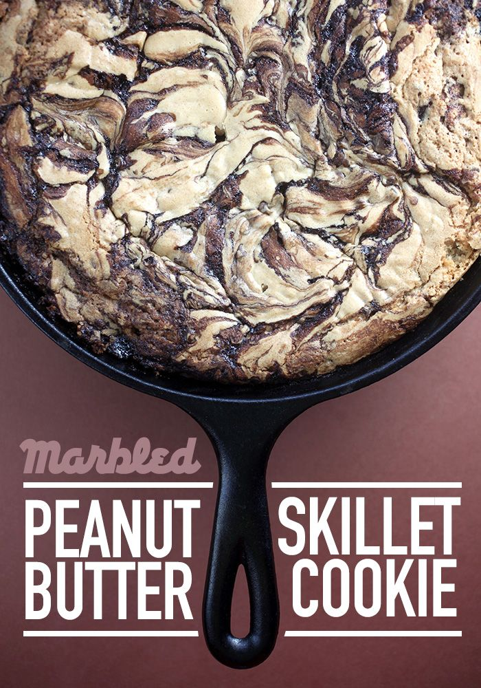Marbled Peanut Butter Skillet Cookie | Bakerella | Bloglovin'