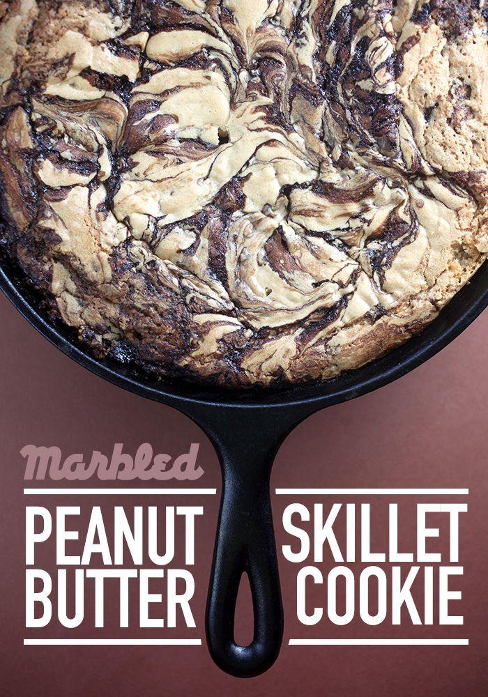 Marbled Peanut Butter Skillet Cookie   Bakerella   Bloglovin'