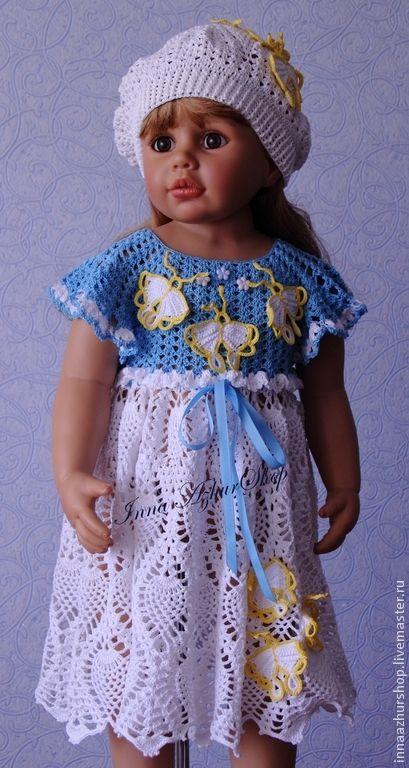 """Купить Комплект """"Butterfly"""" - голубой, цветочный, innaazhurshop, Вязание крючком, вязание на заказ"""
