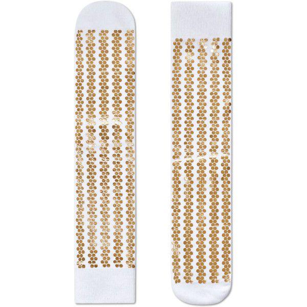 Metallic Stripe Sock ($20) ❤ liked on Polyvore featuring intimates, hosiery, socks, white striped socks, stripe socks, white hosiery, white socks and metallic socks