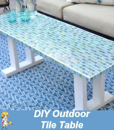 DIY Outdoor Tile Table - Great Patio Idea -  http://thegardeningcook.com/diy-outdoor-tile-table/