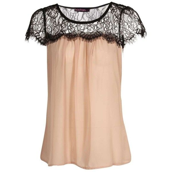Boohoo Petite Lydia Lace Trim Chiffon Blouse (€12) ❤ liked on Polyvore featuring tops, blouses, shirts, petite shirts, chiffon shirt blouse, chiffon tops, lace trim blouse and petite tops