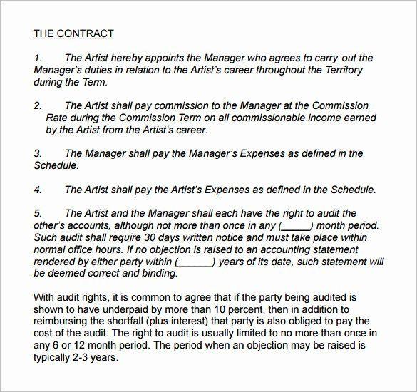 Artist Management Contract Template Best Of 5 Artist Management