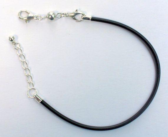 Black Rubber Adjustable Bracelet  Euro Bead by ThisPurplePoppy, $1.25