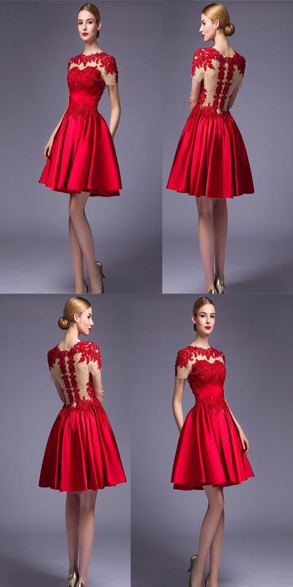 69c126c63 Prom Dress Short, Prom Dress Red, Prom Dress 2018, Prom Dress Lace, Red  Lace Homecoming Dresses #RedLaceHomecomingDresses #PromDress2018  #PromDressShort ...