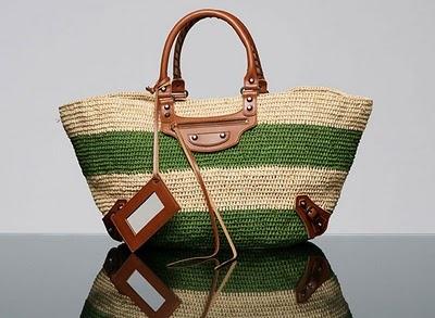 Balenciaga classic straw beach bag