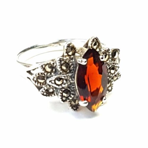 GARNET-Stone-RING-Marquise-Cut-Marcasite-925-STERLING-SILVER-SIZE-6-7-8