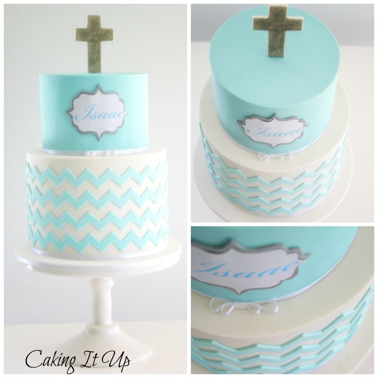 Two tier chevron christening cake in aqua blue and white. www.facebook.com/cakingitup