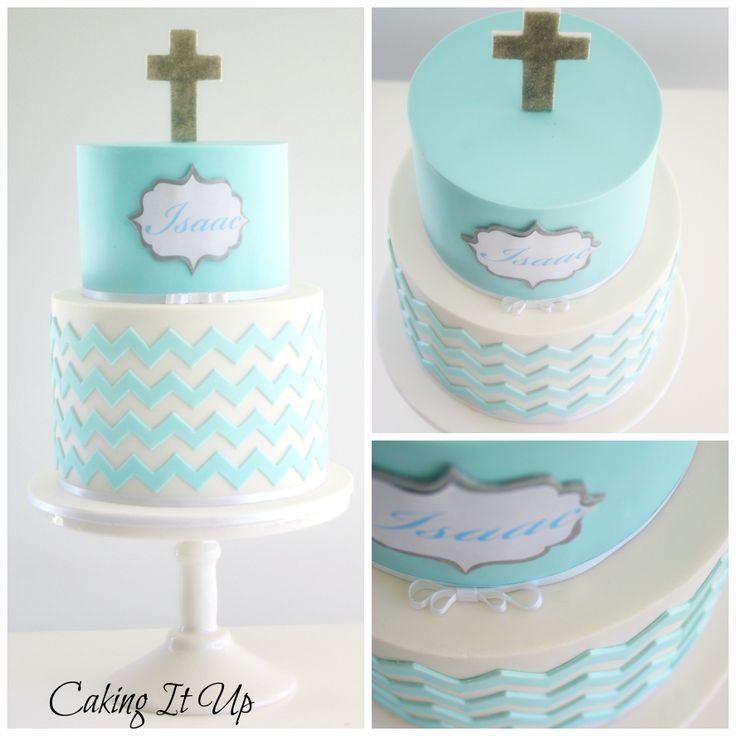Two tier chevron christening cake in aqua blue and white. www.facebook.com/cakingitup