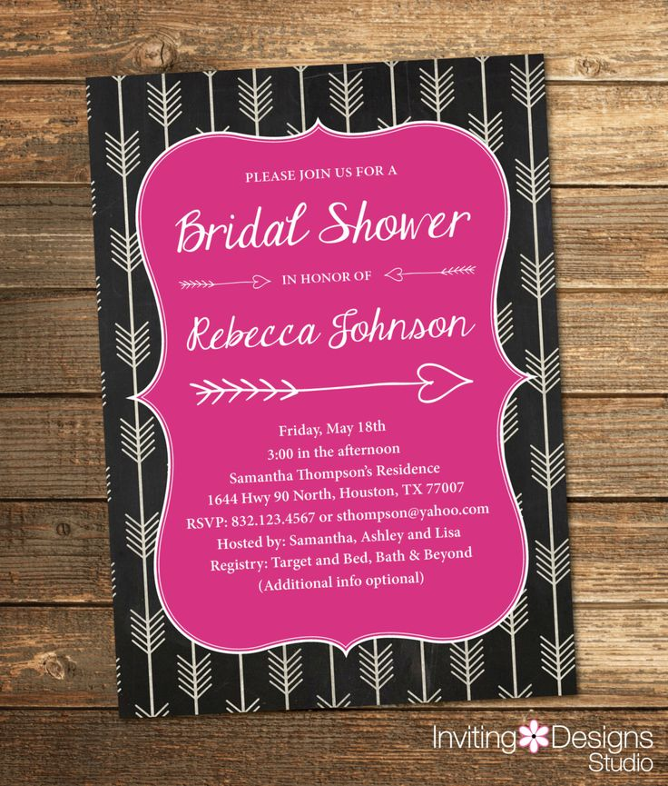 Bridal Shower Invitation Shower Invite Arrows Chalkboard